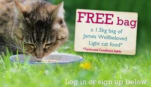 Free 1.5kg bag of James Wellbeloved light cat food