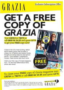 Free copy of Grazia Magazine with a text