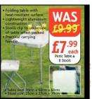 folding picnic table & 2 stools - £7.99 @ nettos - Monday 9th june