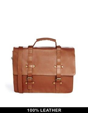 ASOS Men's Double Strap Leather Satchel £27 @ Asos