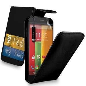 Motorola Moto G - Leather Flip Case Cover Pouch + Free Screen Protector & Mini Touch Stylus Pen + Polishing Cloth . free delivery various colours 99p at Amazon/GB Online Sales