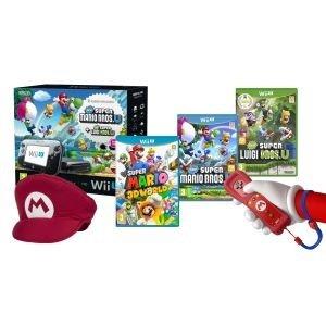 Wii U Mario Mega Bundle (The Mario Mega Bundle includes the Wii U Premium pack, SUPER MARIO 3D WORLD, New Super Mario Bros. U, New Super Luigi U, a Mario hat and a Mario Wii Remote Plus.) £299.99 @ Nintendo