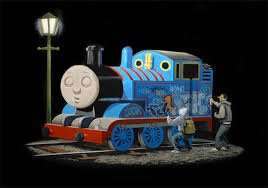 Banksy Thomas the Tank Engine Canvas Wall Art A4 £11 Delivered at Tesco Direct