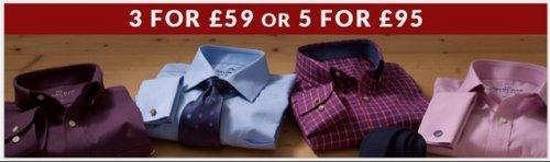 5 Shirts for £95 or 3 for £59 @ savilerow co