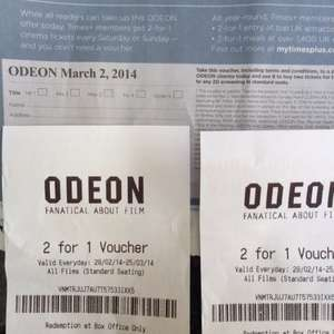 2 for 1 at Odeon Cinemas with  Times Plus