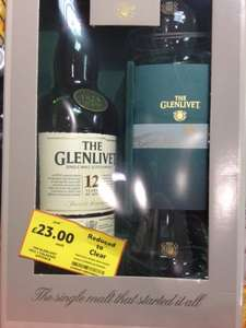 Glenlivet 70cl 12 Year Old Single Malk Whiskey and two glasses £23 @ Tesco