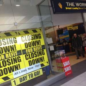 Everything 10p at the works closing down sale (Manchester arndale top floor) loads of books CDs DVDs tat left