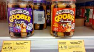 Smucker's Goober American Peanut Butter & Jelly (Stawberry & Grape jelly) - BOGOF £4.50 @ Tesco