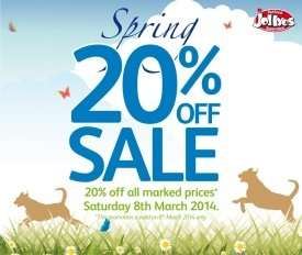 20% discount @ Jollyes Pet Superstore Sat 8th March