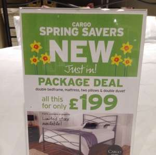 Double Bed + Mattress + Duvet + 2 Pillows £199 @ Cargo Walton
