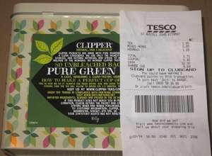 Clipper 80 green tea bags, in a pretty tin, £1.86 (-40p coupon inside ) @ Tesco
