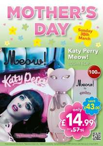 Katy Perry Meow 100ml EDP for £14.99 at Savers INSTORE
