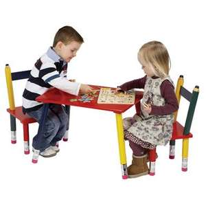 Wooden Pencil table and 2 chairs £24.99. Free Collection from Smyths or £2.99 delivery