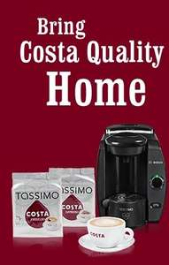 Back on: Costa Tassimo bundle (T4 machine, Costa cup and saucer, 2 T DISC pack of 16 each) £39.99 + postage £5 (£44.99)
