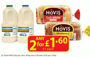 Farmfoods Two for £1.60 Milk and Hovis Bread