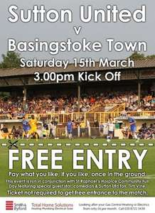 FREE ENTRY Sutton United v Basingstoke Town Sat 15th March