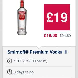 1 litre Smirnoff vodka £19 @ Co-op, only 3 days to go!!!!