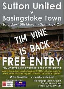 Sutton United Vs Basingstoke Town Sat 15th March FREE Entry