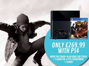 PS4 with Second Son for £269.99 when you trade in PS3 or XBOX 360 + 5 games @ Game instore only!