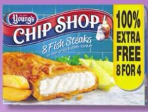Any 2 for £5 Young's Chip Shop 8 fish Steaks @ Farmfoods