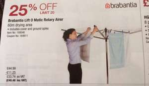 Brabantia lift-o-matic 60M rotary airer(with spike and cover) £40.48 instore @ Costco