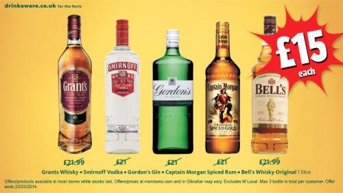 Selected 1lt bottles of spirits at Morrisons - Captain Morgan Rum, Gordons Gin, Grants Whisky, Smirnoff Vodka & Bells just £15 at Morrisons