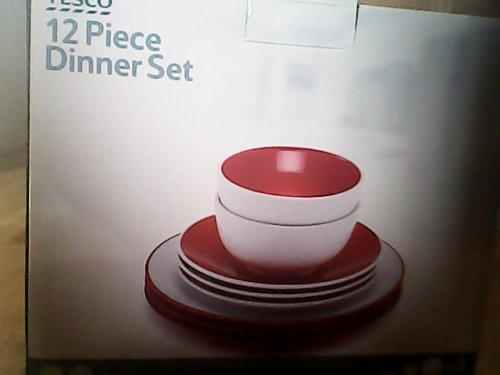 12 Piece Stoneware Dinner Set White or Red/White HALF PRICE Now £10 instore @ Tesco