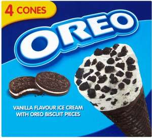 Oreo Ice Cream Cones 4 Pack £1.24 (Half Price) @ Tesco
