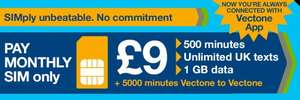 Vectone mobile - best replacement for Ovivo Mobile customers £5 or £9 per month 30 day contract