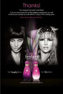 "Free samples of perfume ""Fantasy"" by Britney Spears for the first 20,000"