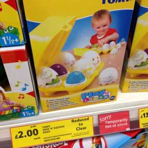 Tesco in-store. Tomy hide 'n' squeak eggs. Reduced to clear. Only £2.