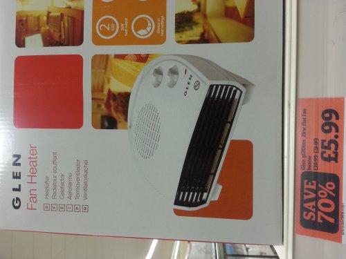 Glen 2kw fan heater £5.99 @ Sainsburys - Instore Only