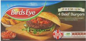 Birds Eye Premium Beef Burgers (4 per pack - 227g) was £2.59 now £1.29 @ Sainsbury's
