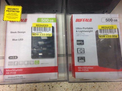 BUFFALO 500gb Portable Hard Disk Drive £22 @ tesco