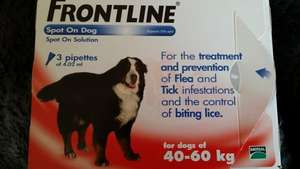Frontline flea treatment for dogs 40 -60kg. 3 pipettes  £16.33 @ Sainsburys instore