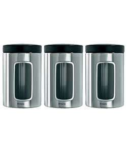 Brabantia 3 Piece Window Canister Set, 1.4 Litre - Brilliant Steel with Black Lid - £10.49 @ Amazon