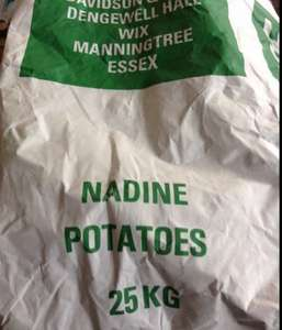 25kg of white potatoes £5 at most local farms or farm shops