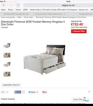 Silentnight Florence 2000 pocket memory kingsize mattress and 4 drawer divan £722.49 @ Argos