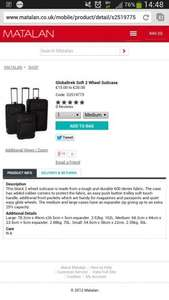 global trek soft wheel meduim suitcase £18 matalan