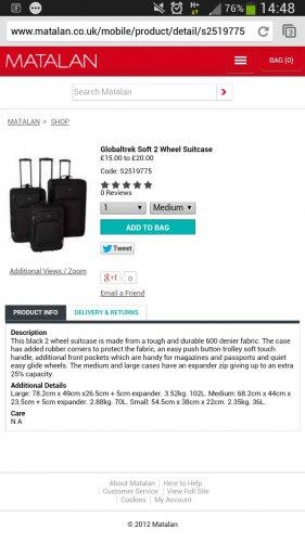 global trek soft wheel meduim suitcase £18 matalan
