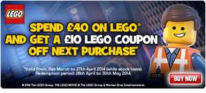 Free £10 Lego voucher when you spend £40 at Toys r us, instore and online