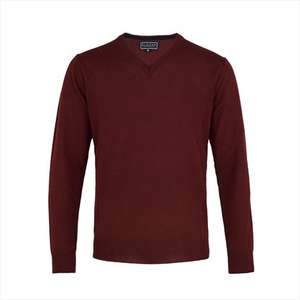 Blazer V-Neck Regular Fit Merino Wool Mix Jumper Wine - £15 @ Moss Bros