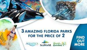 14 Day Unlimited Combi Ticket (3 parks)  for Seaworld Aquatic and Busch Gardens, Florida  = £78 @ Travel Republic