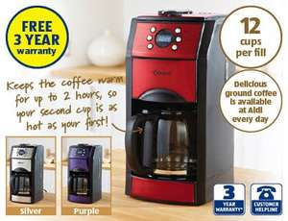 Aldi Coffee machine with grinder half price, now 19.99 @ ALDI