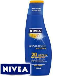 Nivea Moisturising  suntan lotion SPF 10 -30. 200ml £3.99 Home Bargains