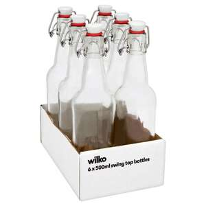 6 x 500ml Clear Glass Swing Top Bottles £6.00 (was £8) online and instore @ Wilko