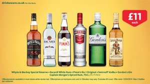 70 cl spirits inc Three Barrels Brandy, Bacardi, Captain Morgan Spiced Rum, Gordons Gin, Tia Maria & many others see OP just £11 at Morrisons also £4.75 cashback @ CheckoutSmart when you buy 2 selected bottles so £8.63