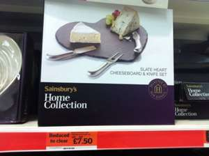 Heart shaped cheese slate board & knife set £7.50 @ sainsburys (instore)