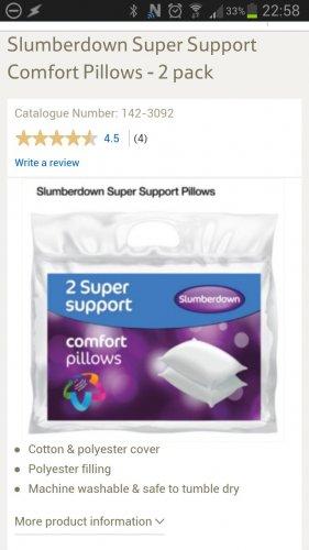 Slumberdown Super Support Pillows - 2 pack  £6 @ Tesco
