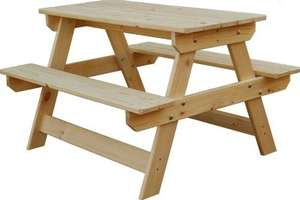 Kids Blooma Wooden Picnic Bench - Only £19 At B&Q Wolverhampton.